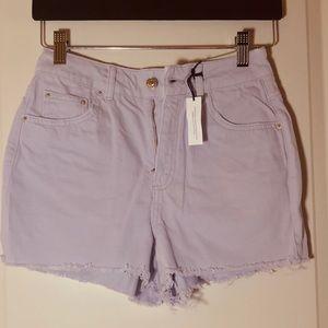 TopShop Denim Cutoff Short-Lilac Size 4